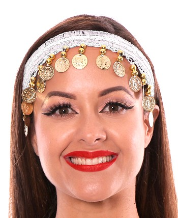 Sequin Belly Dance Costume Headband with Coins - WHITE / GOLD