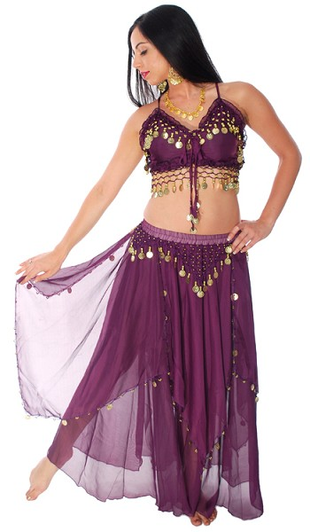 2-Piece Belly Dancer Costume with Coins - DARK PURPLE PLUM/ GOLD