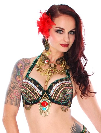 Tribal Zari Belly Dance Bra with Large Pendant