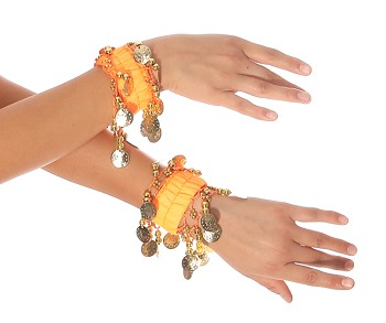 Chiffon Stretch Bracelets with Beads & Coins (PAIR): NEON ORANGE / GOLD