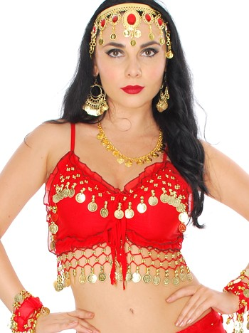 Chiffon Deluxe Belly Dance Bra Top - RED / GOLD