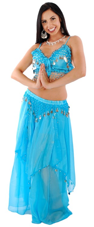 2-Piece Belly Dancer Costume with Coins - BLUE TURQUOISE / SILVER