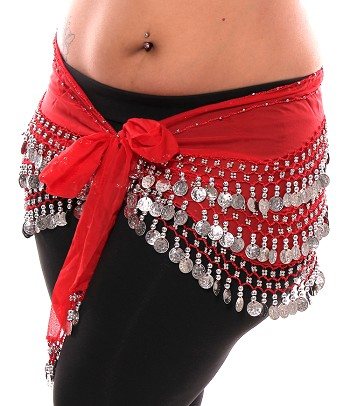 Plus Size 1X - 4X Chiffon Belly Dance Hip Scarf with Coins - RED / SILVER