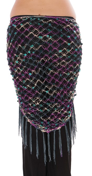 Crochet Net Shawl Scarf with Square Sequins & Fringe - PEACOCK