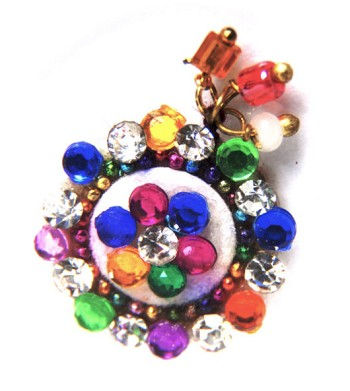 Navel Belly Jewel / Forehead Bindi with Dangles - MULTI