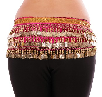 Velvet Deluxe Belly Dance Coin Hip Scarf - HOT PINK / GOLD