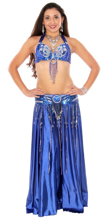 Beaded Satin Belly Dance Costume with Sequin Butterfly Design - ROYAL BLUE