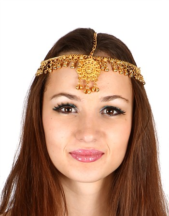 Belly Dance or Bollywood Medallion Head Piece with Bells - GOLD