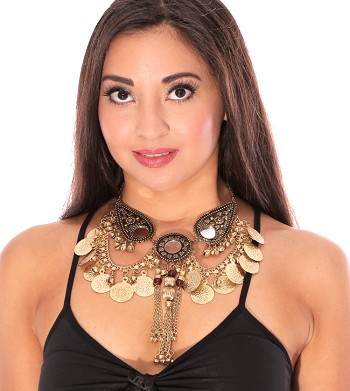 Classic Belly Dance Tribal Coin Necklace with Chain Tassels & Mirrors - GOLD