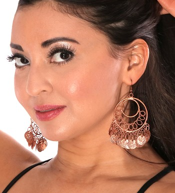 Classic Belly Dance Coin Hoop Earrings - COPPER
