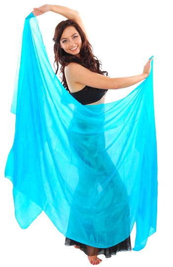Silk Belly Dance Veil - TURQUOISE