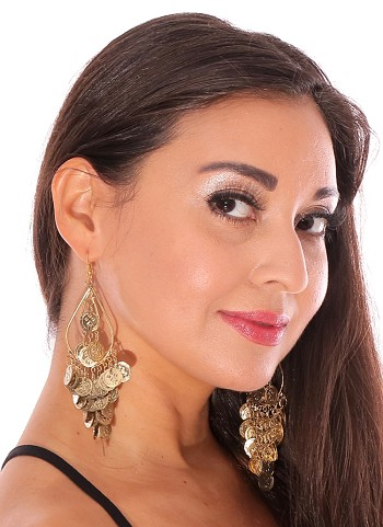 Coin Teardrop Dangle Belly Dance Earrings - GOLD