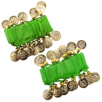 Chiffon Stretch Bracelets with Beads & Coins (PAIR): GREEN / GOLD