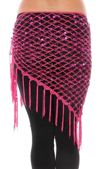 Crochet Net Shawl Scarf with Square Sequins & Fringe - DARK PINK / FUCHSIA
