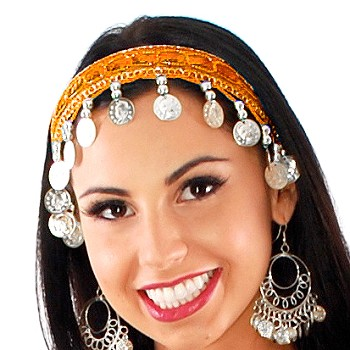 Sequin Belly Dance Costume Headband with Coins - ORANGE / SILVER