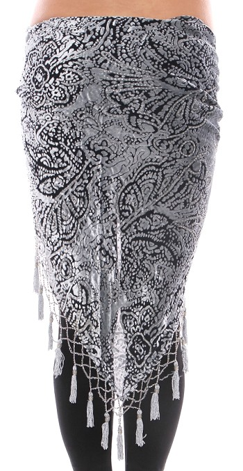 Burnout Velvet Hip Scarf Shawl with Beads & Tassels - SILVER