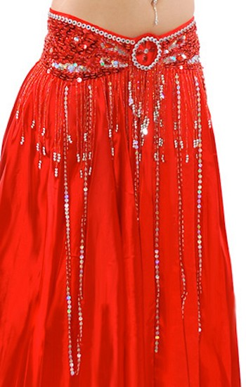 Beaded Satin Belly Dance Belt with Sequin Butterfly Design & Fringe - RED