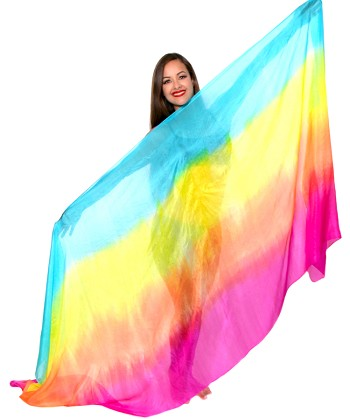 Ombre Silk Belly Dance Veil - SPRING RAINBOW