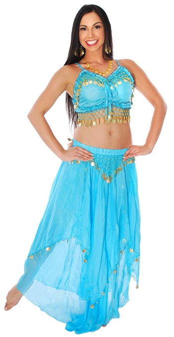 2-Piece Belly Dancer Costume with Coins - BLUE TURQUOISE / GOLD