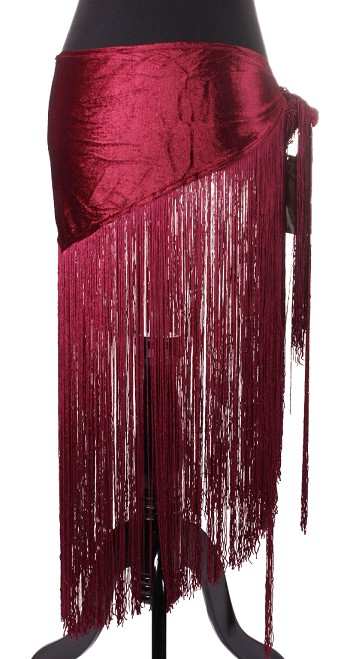 Velvet Tribal Belly Dance Gypsy Hip Scarf Belt with Long Fringe - BURGUNDY