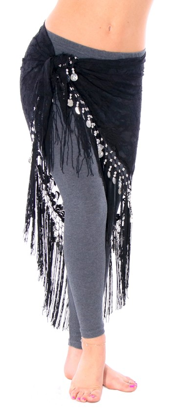 Tribal Gypsy Belly Dance Lace Shawl Hip Scarf with Coins & Fringe - BLACK / SILVER