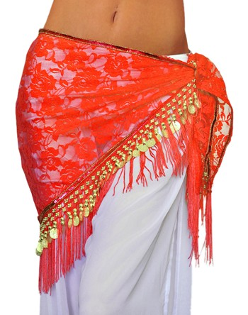 Tribal Gypsy Belly Dance Lace Shawl Hip Scarf with Coins & Fringe - RED / GOLD