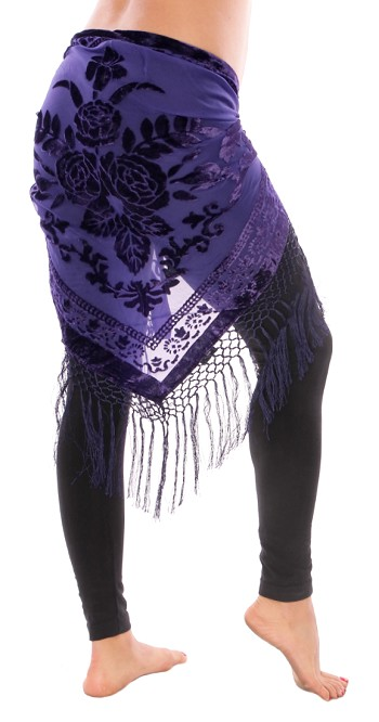 Burnout Velvet Rose Pattern Shawl Hip Scarf with Fringe - PURPLE GRAPE