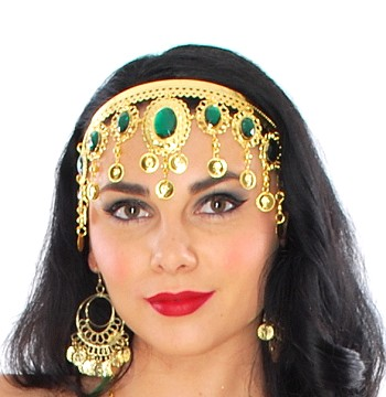 Arabesque Metal Head Piece with Coins & Jewels - GOLD / GREEN