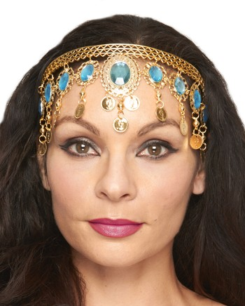 Arabesque Metal Head Piece with Coins & Jewels - GOLD / TURQUOISE