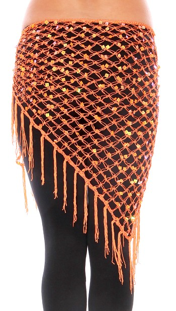 Crochet Net Shawl Scarf with Square Sequins & Fringe - ORANGE
