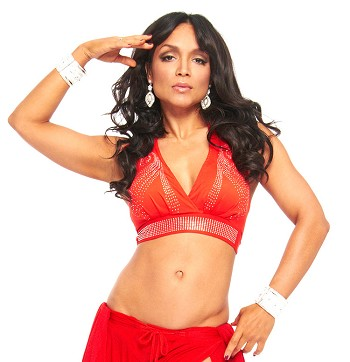 Swirl Studded Halter Dance Top - RED / SILVER