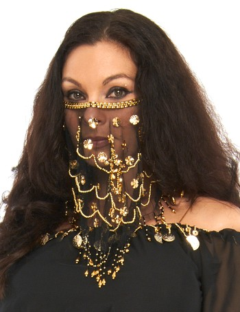 Ornate Harem Belly Dancer Costume Face Veil Accessory - BLACK