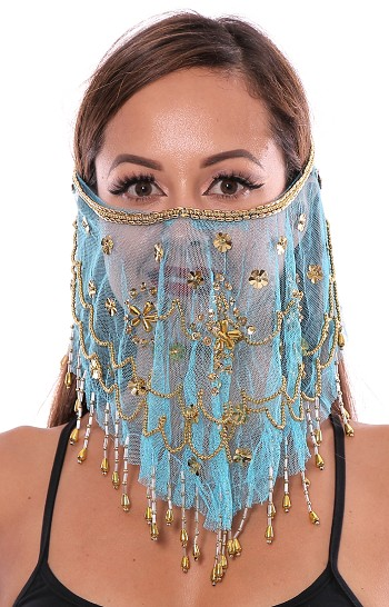 Ornate Harem Belly Dancer Costume Face Veil Accessory - TURQUOISE BLUE