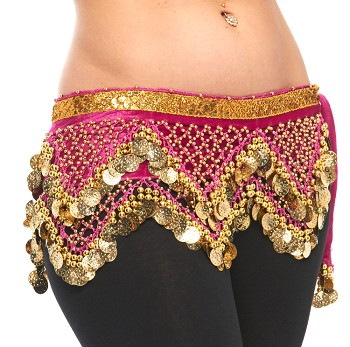 Velvet Pyramid Belly Dance Hip Scarf with Beads & Coins - FUCHSIA / GOLD