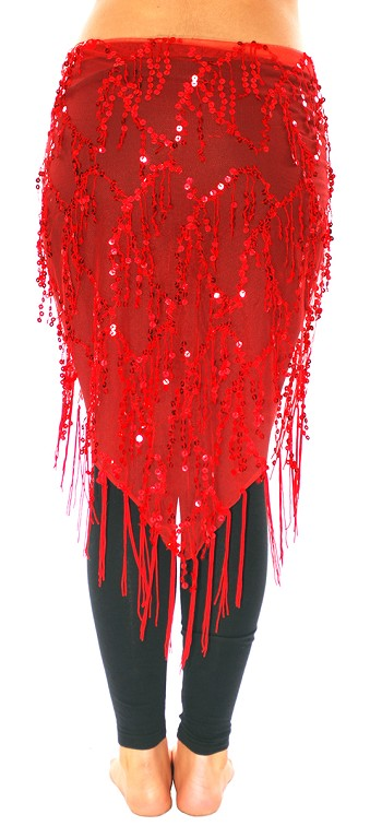 Elegant Sequin Fringe Mesh Belly Dance Hip Scarf - RED