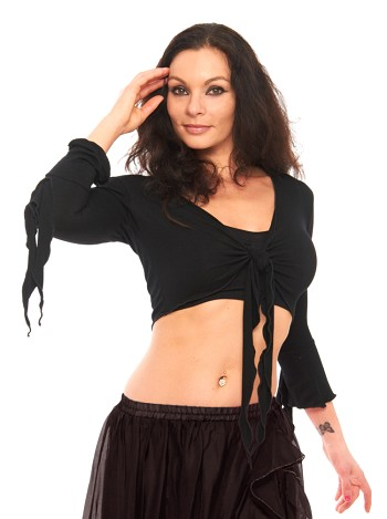Criss-Cross Choli Top with Handkerchief Sleeves - BLACK