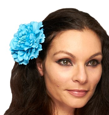Hair Flower Costume Accessory - LT. BLUE TURQUOISE