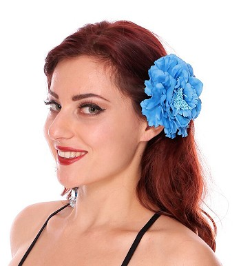 Hair Flower Costume Accessory - BLUE TURQUOISE