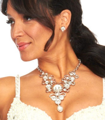 Spiral Vines Crystal Statement Necklace and Earrings Set- SILVER