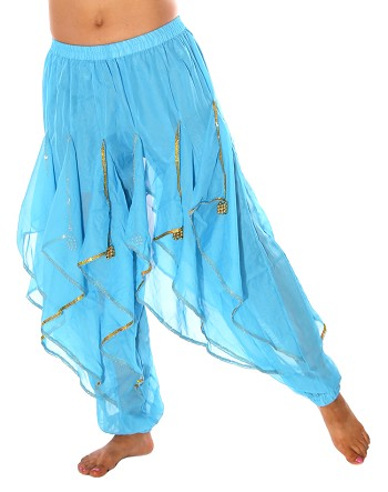 Endless Wave Bollywood Ruffle Belly Dance Harem Pants - BLUE TURQUOISE / GOLD