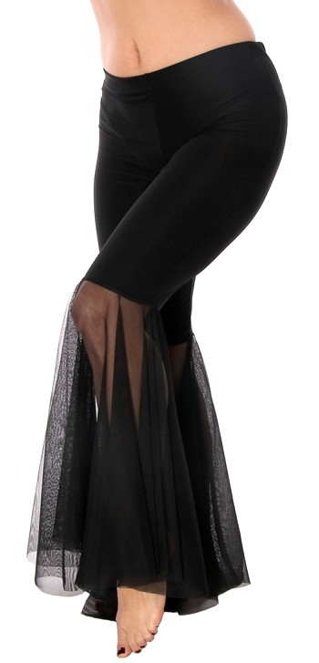Mesh Bell Bottom Dance Pants - BLACK