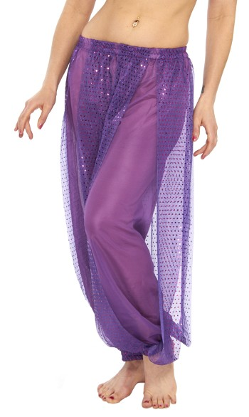 Harem Pants with Shiny Sequin Dot Panels - PURPLE