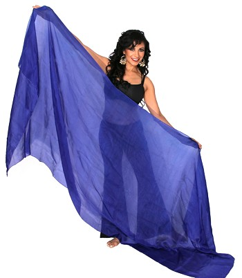 Silk Belly Dance Veil - ROYAL BLUE