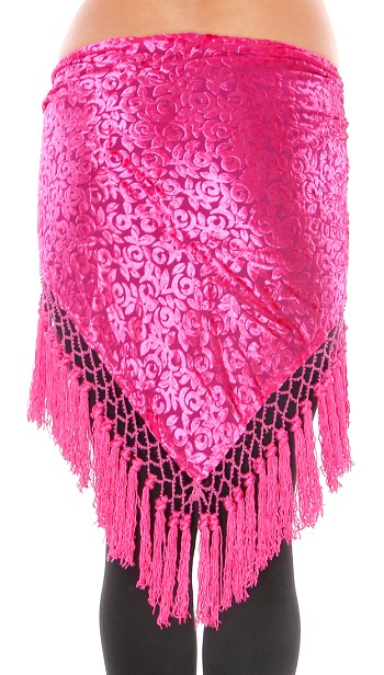 Burnout Velvet Triangle Hipscarf with Tassels - FUCHSIA