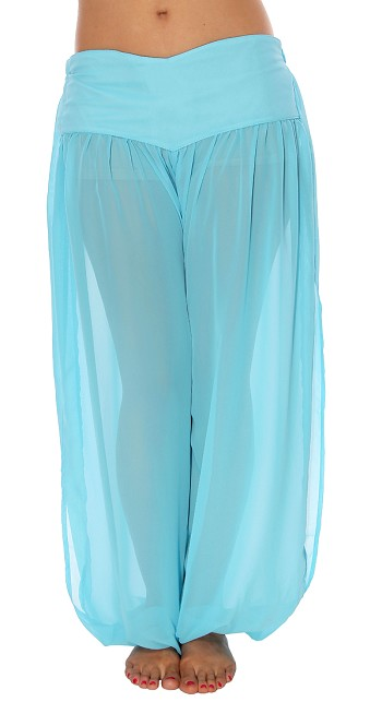 Belly Dancer Harem Pants - LIGHT BLUE TURQUOISE