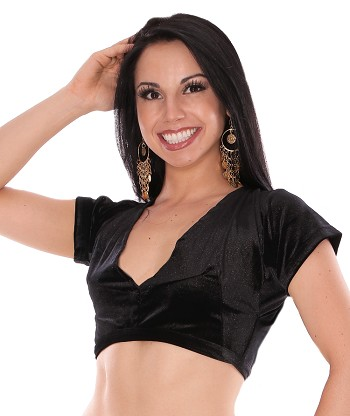 Short Sleeve Velvet Tribal Choli Top - BLACK