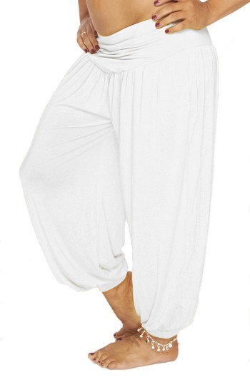 Comfy Stretch Harem Pants - WHITE
