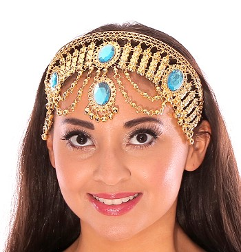 Arabian Nights Belly Dance Costume Headband with Faux Jewels - TURQUOISE