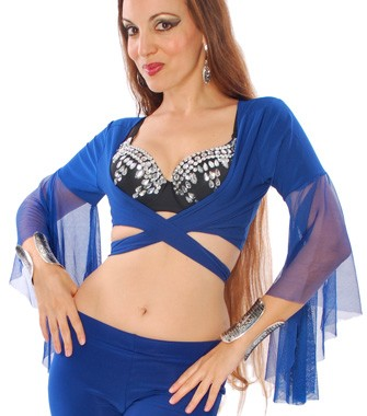 Choli Dance Top with Mesh Butterfly Sleeves - ROYAL BLUE