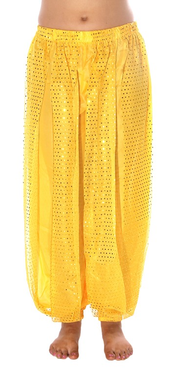 Harem Pants with Shiny Sequin Dot Panels - YELLOW